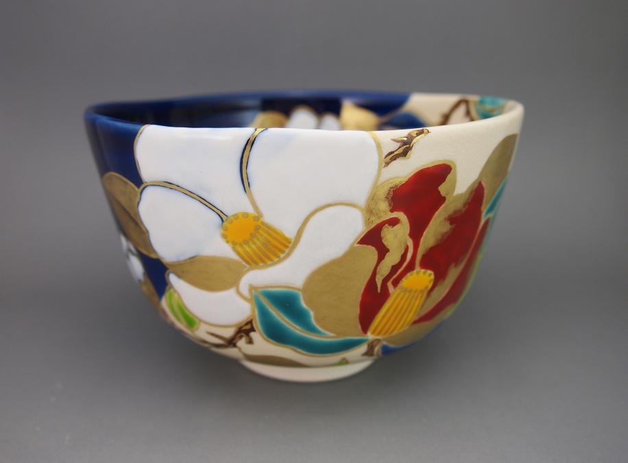 掛分 椿 茶碗
