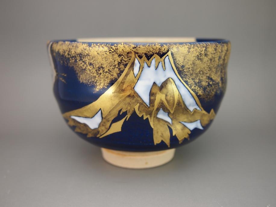 色絵 金 富士 鶴 茶碗