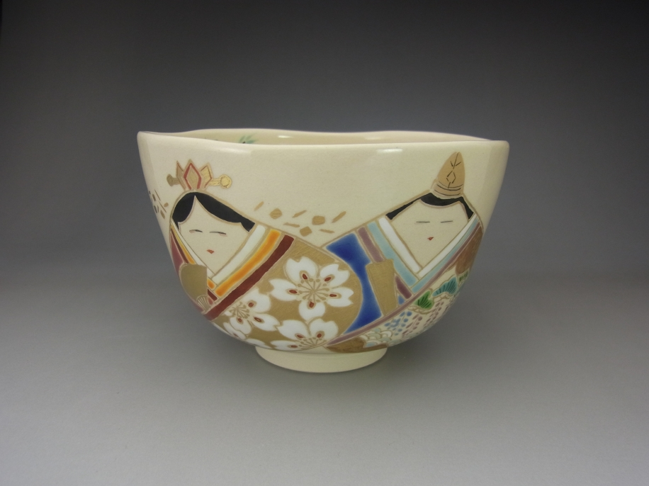 色絵 貝雛 茶碗
