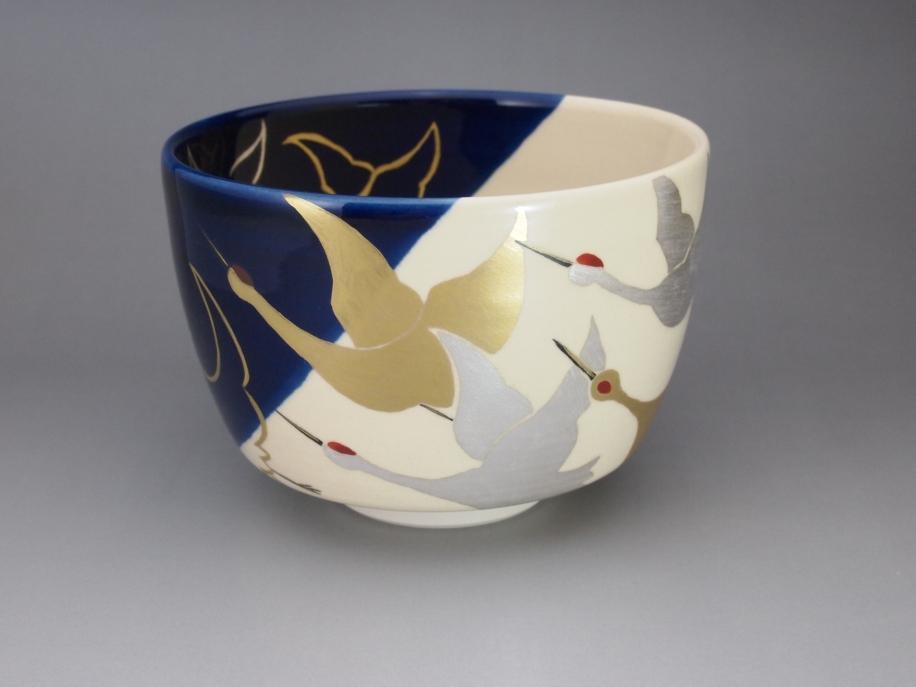藍釉 掛分 金銀鶴 茶碗