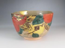 色絵 柿 茶碗