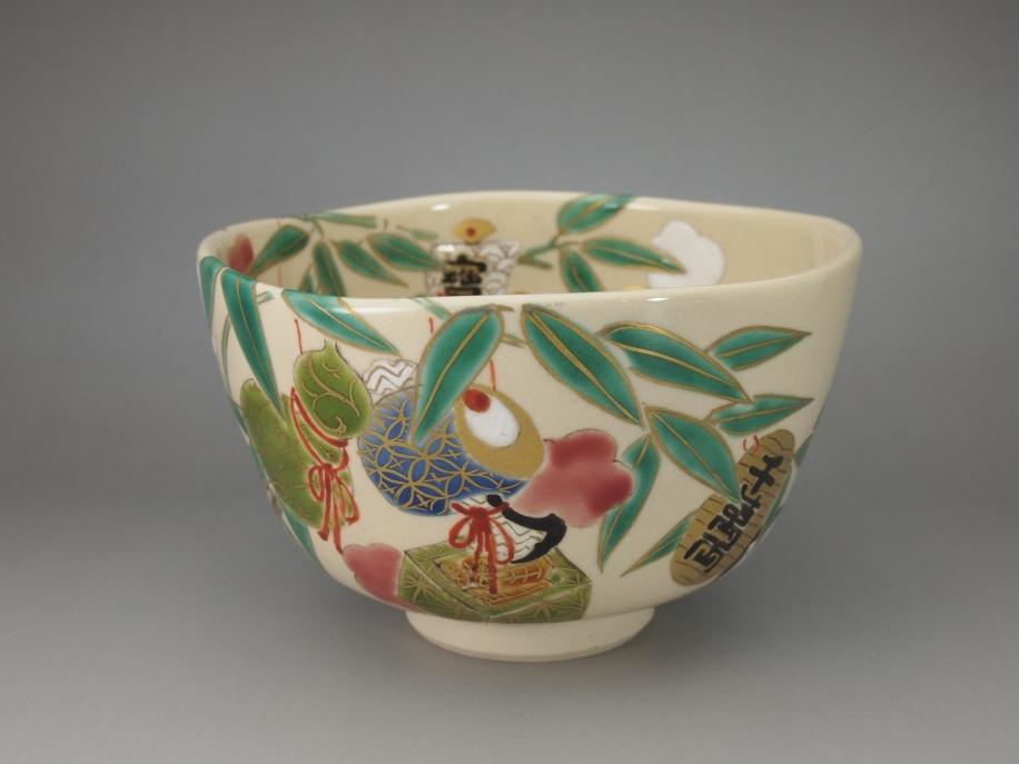 色絵 福笹 茶碗