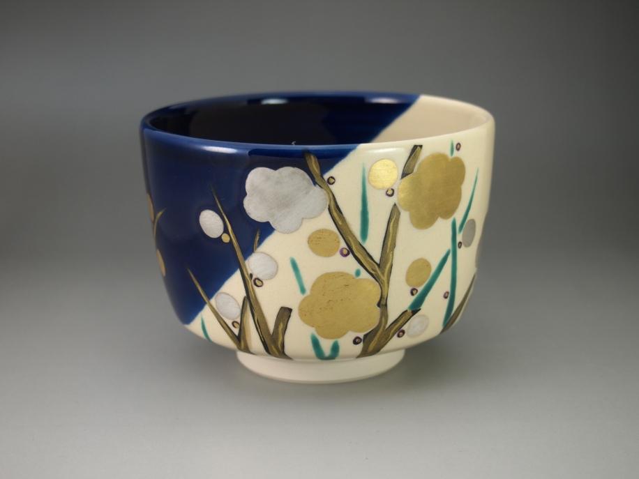 藍釉掛分 梅 茶碗