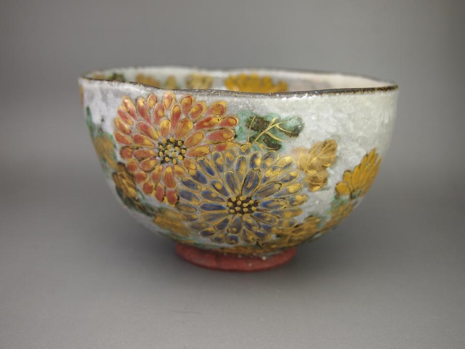 金彩色絵 菊 茶碗