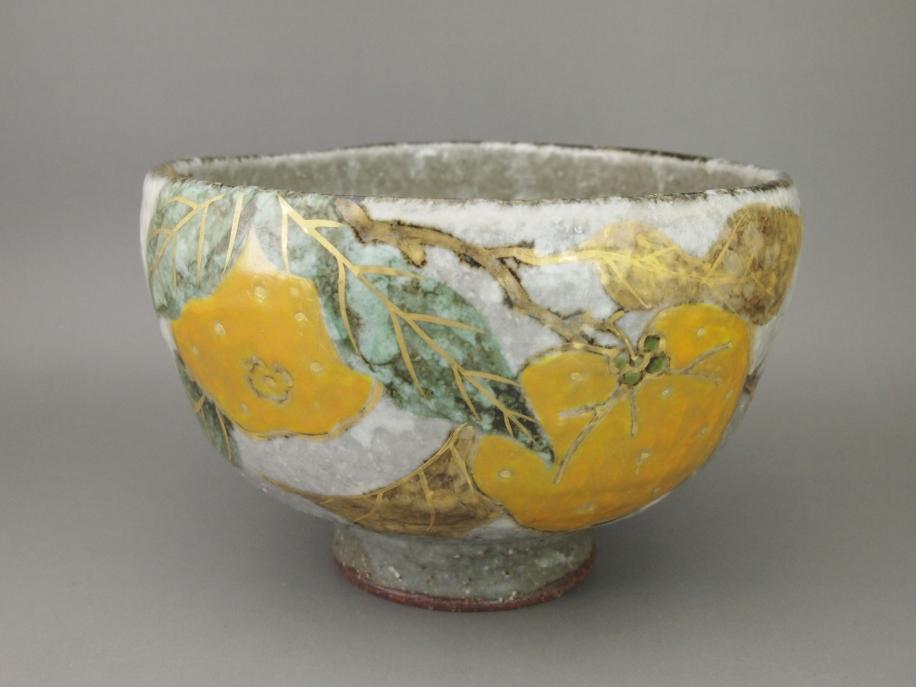 金彩色絵 柚 茶碗