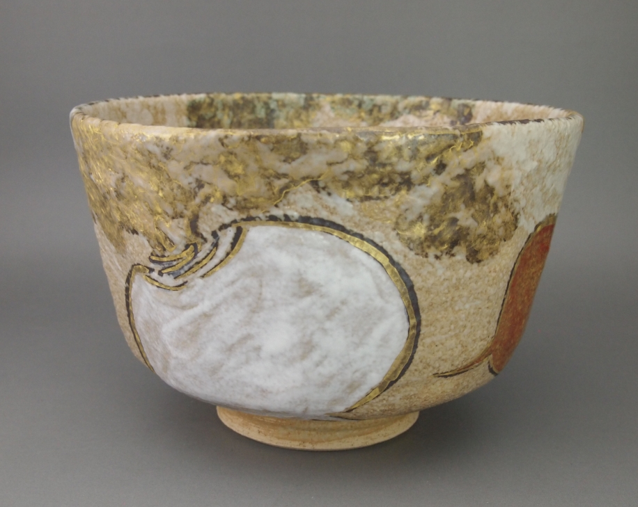 金彩色絵 紅白蕪 茶碗