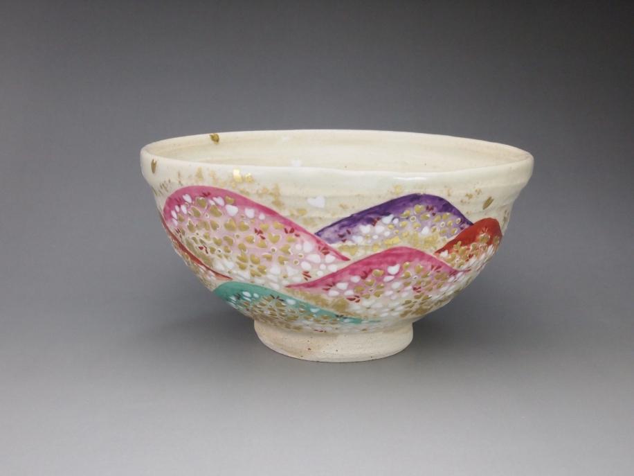 白釉 吉野山 茶碗