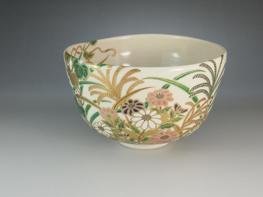 色絵 秋草 茶碗