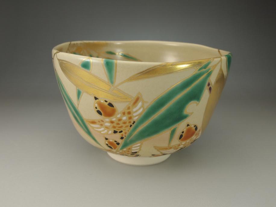 色絵 笹にすずめ 茶碗