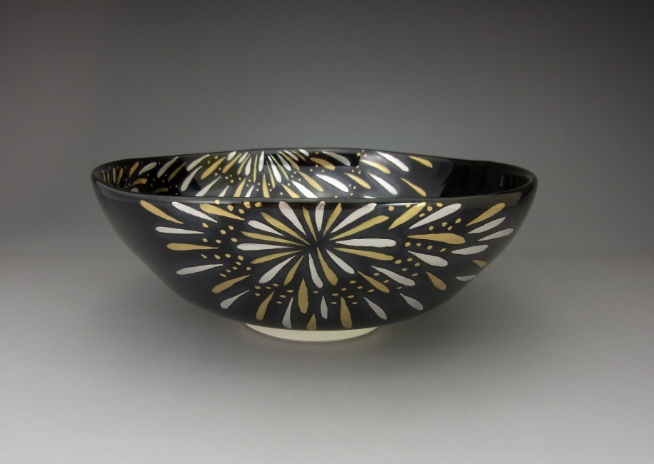 黒釉 花火 茶碗