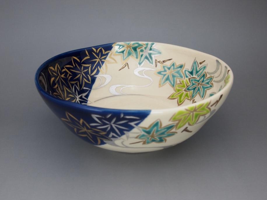 色絵 楓に流水 茶碗