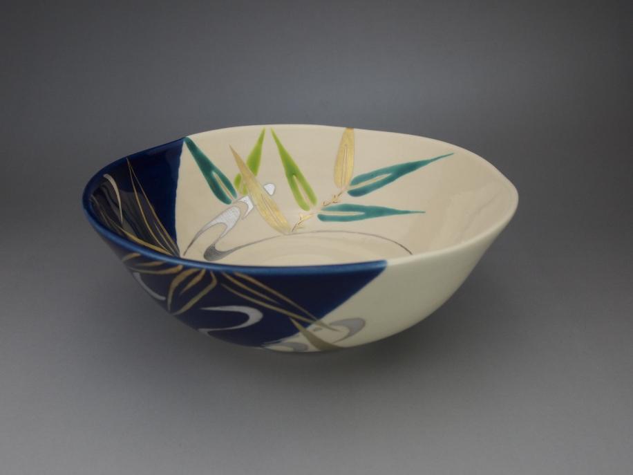 色絵 芦に流水 茶碗