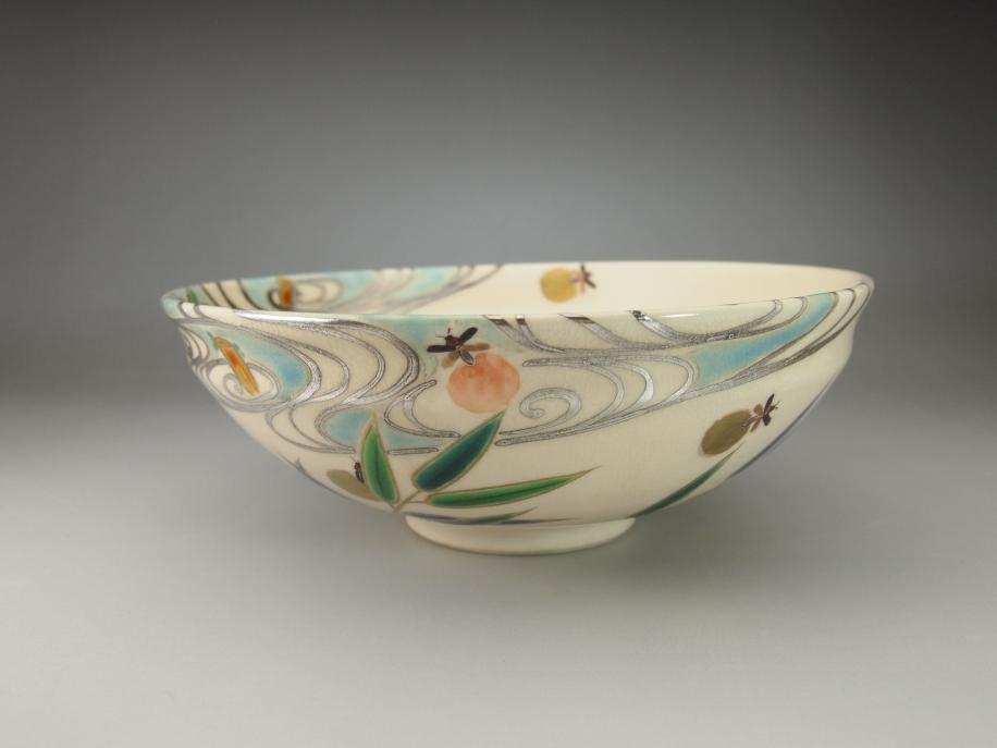 色絵 芦に蛍 茶碗
